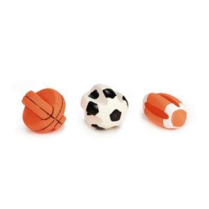 Ingedeukte sportbal met piep klein assorti